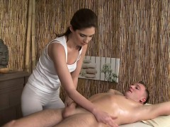 Bare dude gets cock massage until cum